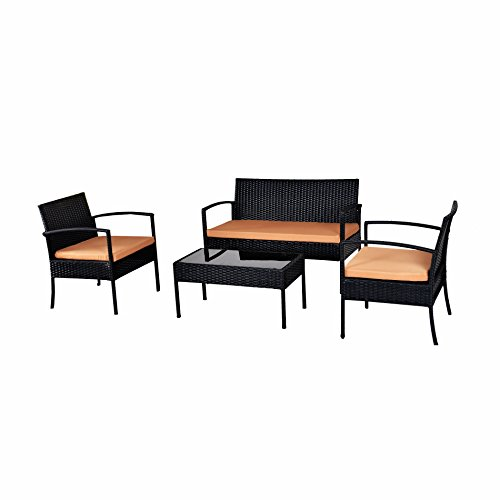 EBS Black Outdoor Garden Patio Rattan Wicker Furniture