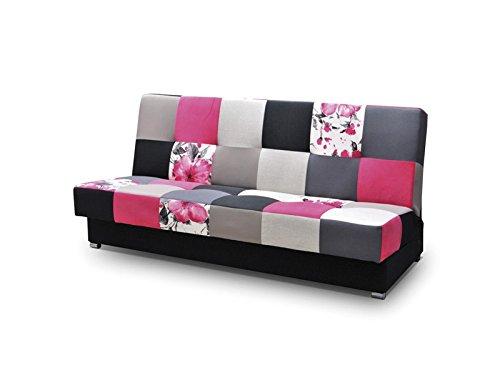 mb-moebel Patchwork Schlafsofa Kippsofa Sofa mit Schlaffunktion Klappsofa Bettfunktion mit Bettkasten Couchgarnitur Couch Sofagarnitur Ausziehbar - Mexico (Rosa)