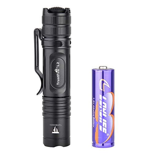 TrustFire L2 Mini Taschenlampe 1000 Lumen hell mit CREE XP-L HD LED und AA/14500 Batterie - 2 Modi taktisch für EDC, Camping, Wandern, Hundespaziergang und in die Natur -