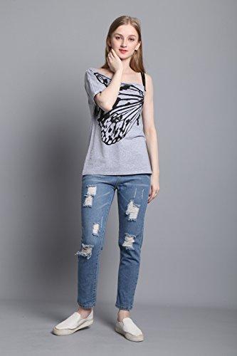 Eaee Damen Sommer Oberteile Kurzarm Schmetterling Drucken T-Shirt Tops Bluse mit Verstellbare Träger Schwarz+Weiß