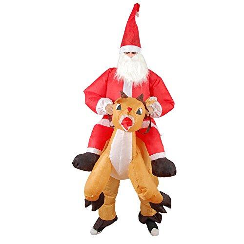 Bloomma Costume di Babbo Natale, Vestito Gonfiabile del Supporto della Renna del Costume del Babbo Natale di Natale per l'adulto di Cosplay di Festival di Costume del Vestito Adulto