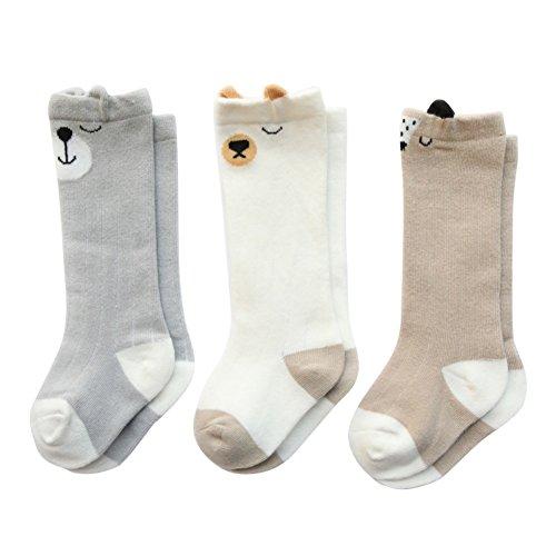 Minuya Babysocken Baby Jungen Mädchen Baumwolle Socken Anti-Rutsch Baumwolle Rohr Socken 3 Paar - Socken Mädchen Rohr