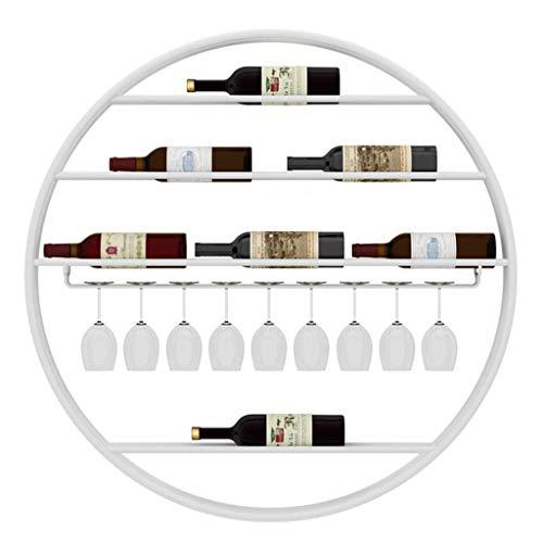 Weinregal aus Metall zur Wandmontage für Flaschen mit Aufbewahrung aus Stielglas - Weiß ()