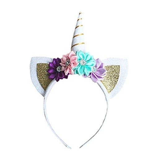 LnLyin Einhorn Stirnband Horn Haarreif Haarband Kopfschmuck Weihnachten Halloween Deko