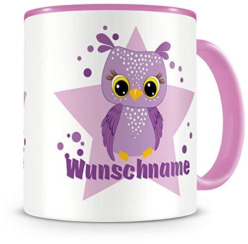 Samunshi® Kinder-Tasse mit Namen und einer lila Eule als Motiv Bild Kaffeetasse Teetasse Becher Kakaotasse Nr.7: rosa H:95mm / D:82mm (Lila Becher Tasse)
