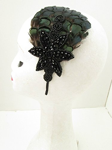 Vert émeraude foncé Bandeau Serre-tête bibi avec plumes Noir Vintage Années 1940 Y46 * * * * * * * * exclusivement vendu par – Beauté * * * * * * * *