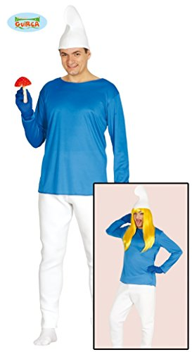 Blauer Zwerg - Kostüm f. Herren Karneval Fasching Märchen Blau Weiße Mütze Gr. M - L, Größe:L