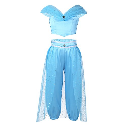 Freebily' Girls Jasmine Aladdin Arabian Princess Costumes Halloween Dress Up Party Outfit Crop Top with Sequin Pants Set
