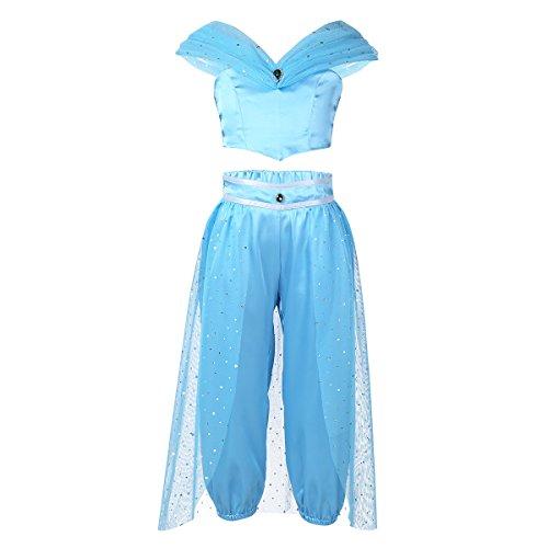 Prinzessin Set Bauchtänzerin Kostüm mit Top und Hose Vampir Girl Set für 3-6 Jahre Himmelblau 116 (Harem Mädchen Bauchtänzerin Kostüme)