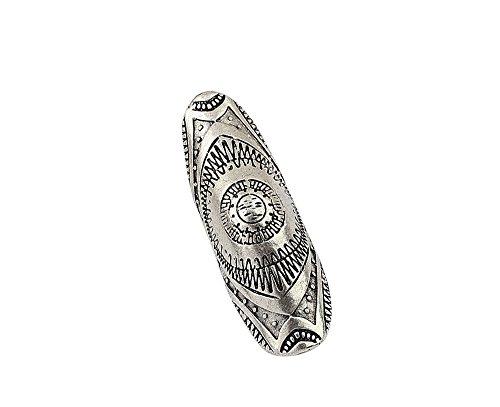 Vintage argento antico placcato Full Finger Anello Etnico azteco Totem Shield Occhiali da sole, taglia unica, # 7 - Anello Dart