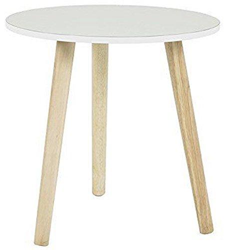 PEGANE Table d'appoint rond en bois massif coloris blanc - Dim : Diam 47 x H48 cm