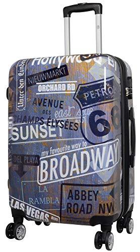Trendyshop365 bunter Hartschalen Citykoffer Straßennamen Broadway Hollywood 68 Zentimeter 76 Liter 4 Räder Rost Style