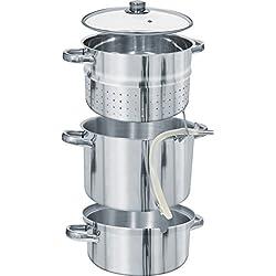 MultiDepot Extracteur de jus à la vapeur professionnel, compatible avec plaques à induction Ø 2640cm Extracteur de jus/cuiseur vapeur/faitout en acier inoxydable 8SN