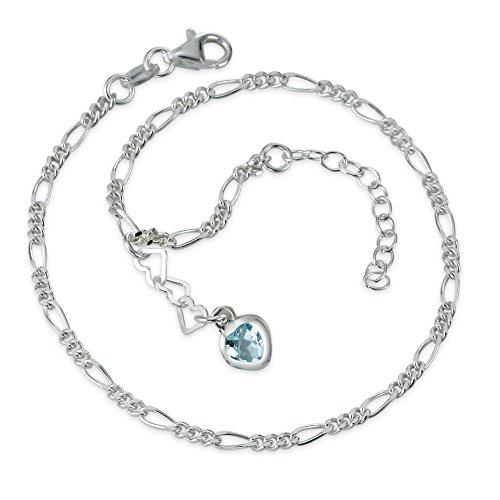Figaro-Fusskettchen Silber Zirkonia Herz, Farbe: blau, Kettenart: Figaro, Länge (cm): 23 cm, Länge verstellbar bis: 25.5 cm, Materialstärke: 2 mm, Verschluss: Karabiner