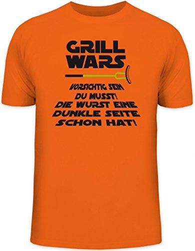 Grillen BBQ Herren T-Shirt von Shirtstreet24 mit Dunkle Seite Grill Wars Aufdruck, Größe: XL,orange