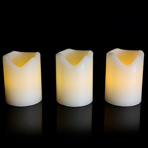 Juego de 3 velas de cera con LED funciona con pilas ámbar parpadeo llama 7 cm de altura vela por pk verde