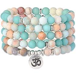 Milacolato Bracelet Mala 108 Perles Chapelet Bouddhiste Tête de Bouddha Pierres Semi-Préciesues Multicolore Cordon Élastique Unisexe