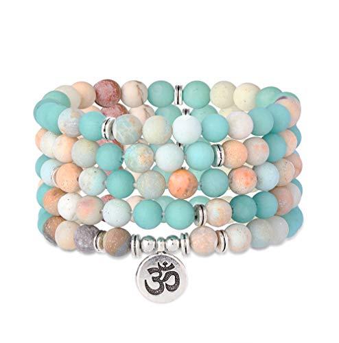 Milacolato 8mm matte amazonite amethyst rose quartz 108 mala beads collana/bracciale per uomo donna yoga buddista rosario preghiera natural gemstone agata jade beads