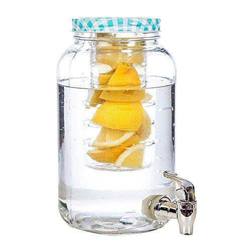 Hochwertiger Saftspender Getränkespender aus Glas mit Fruchteinsatz 3 Liter mit Zapfhahn und Deckel