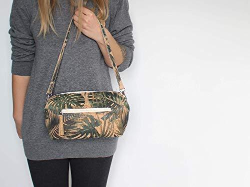 Kork Handtasche, Monstera Umhängetasche, vegan, schwarze Schultertasche, Geschenk, - 2