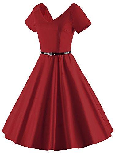 ILover Frauen 1950er V Ausschnitt Vintage Rockabilly Swing Abend Partei Kleid Wieinrot - 3