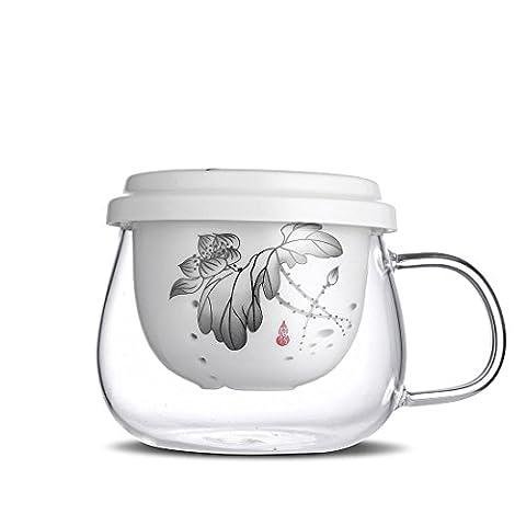 Qileyin Théière de 300ml clair, Théière en verre résistant à la chaleur bouilloire à thé avec infuseur pour feuilles de thé Infuseur à thé en vrac Céramique, Gybl090
