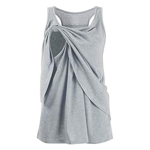 Double Wrap Bluse (MISSWongg Damen Umstandskleidung Schwangere Stillen T-Shirt Double Layer ärmellose Bluse T-Shirt Mutterschaft Pflege Wrap Still Umstands-Top)