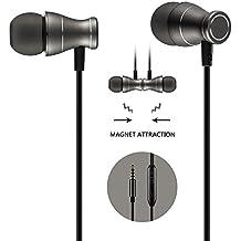 In-Ear Ohrhörer Kopfhörer, Vaken 3.5mm Metallgehäuse Magnetic Best Wired Bass Stereo Headset Eingebauter Mic für Samsung Galaxy S8 / S8 Plus / Android Handys / iPhone(Schwarz)