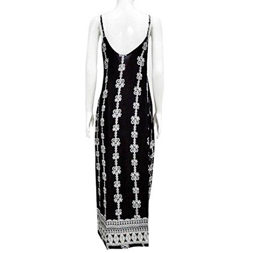 Kleid Transer® Damen O-Ausschnitt Sleeveless Kleider mit Tasche T-Shirt Streifen Täglich Bodenlänge Schwarz Weiß Verschiedene Partykleider Gr.S-XL Schwarz2
