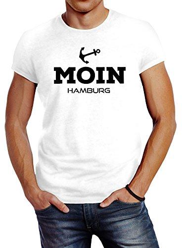 Herren T-Shirt Moin Hamburg Anker Slim Fit Neverless® Moin Hamburg weiß