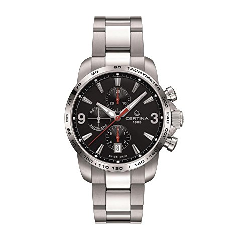 Certina - Orologio da polso, cronografo automatico, pelle, Uomo