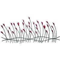 Stravagante scultura da parete in metallo KunstLoft® 'Gioco di fiori' 56x124x6cm | Decorazione parete XXL design fatta a mano | Fiori e boccioli floreale | Quadro di metallo lussuoso plastico