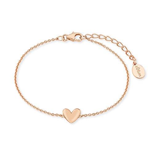 s.Oliver Damen-Armband So Pure 16+3 cm mit Herz-Anhänger 925 Silber rosévergoldet