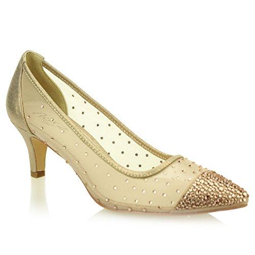 Aarz Frauen-Dame-Abend Court Diamante Low Heel Sandale Abschlussball -Party Hochzeit Brautschuhe Größe (Gold, Silber, Schwarz, Champagner) Champagner