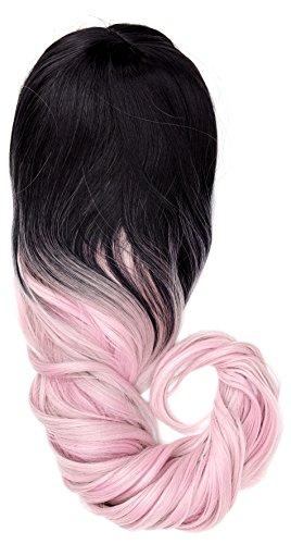 amback lang Dye dunklen Wurzeln Ombre Cosplay Halloween Perücke für Frauen gelockt Welle Haar Perücken Gap/Light Pink RF14