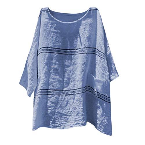 nblusen,Frauenmode Lose Baumwolle Leinen Streifen Plus Size TäGlich Casual Hemd Bluse Tops ()