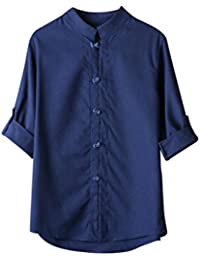 T-Shirt à Manches 3 4 pour Homme,Homme Classique Tshirt Chinois Style b76c73d7a8e