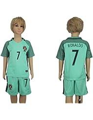 2016pour les amateurs 2017Portugal 7Cristiano Ronaldo Away pour enfants Kid Enfant Football Soccer Jersey en vert