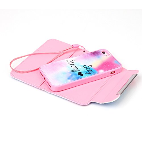 MOONCASE iPhone 5 Case 2 in 1 avec détachable Coque en Cuir Portefeuille Housse de Protection Étui à rabat Case pour iPhone 5 5S -FT06 FT03