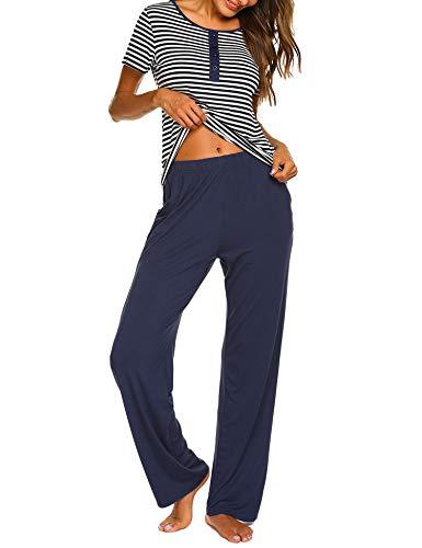UNibelle Damen Pyjama Set Modal Schlafanzug Nachtwäsche Zweiteiliger Hausanzug Nachthemd V Ausschnitt Mit Hose & Shirt Sleepwear Navyblau L (Damen Modal Pyjama-sets)