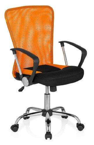 hjh OFFICE 685117 Bürostuhl, Chefsessel Net Star Netzstoff, schwarz / orange / chrom
