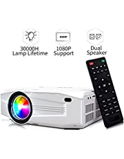 Jimwey Mini Projector, 1080P HD Supported 3000 Lux Portable Video Projector, Compatible with TV Stick, HDMI, USB , AV, DVD, for Multimedia Home Theater