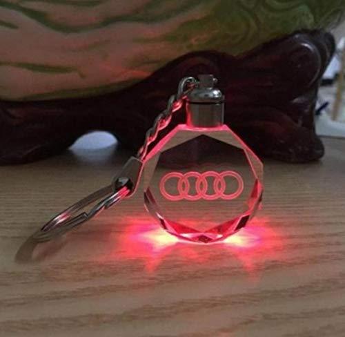 Auto-glas-led (AITU Schlüsselring Auto Logo Licht Led Schlüsselanhänger Anhänger Wand Ringe Souvenir Geschenk Stil Benutzerdefinierte Schlüsselanhänger Glas Keychain, A)