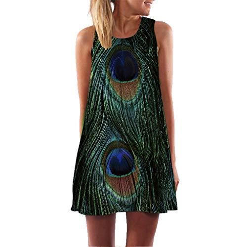 MAYOGO Sommerkleider Damen Casual Ärmellos T-Shirt Kleid Kurzen Blumen Bedrucktes Strandkleider mit Taschen -