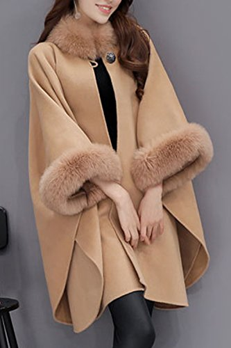 Le Donne Inverno Casuale Semplice Libero Asimmetrici Poncho Cape Cappotto Indumenti Esterni Con Finto Pelo Camel