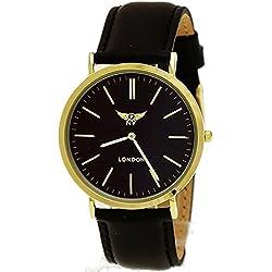 NY London designer Slim Unisex Herren Damen Leder Armband Uhr Schwarz Gold super flach inkl.Uhrenbox