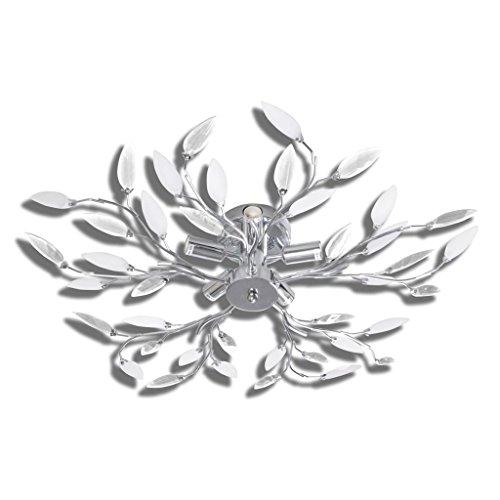 vidaXL Lámpara blanca colgante de cristal acrílico 5 bombillas E14