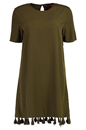 Khaki Damen Sophia Crewneck Tassel Bottom Shift Dress Khaki