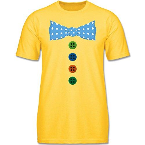 Kinder - Clown Kostüm Blaue Fliege - 128 (7-8 Jahre) - Gelb - F140K - Jungen T-Shirt (Jungen Clown Kostüme)