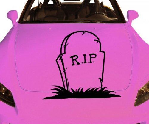 ein Tod Horror Sticker Grab Halloween Aufkleber Auto 5O045, Farbe:Rot glanz;Breite vom Motiv:25cm (Ein Grab, Halloween)